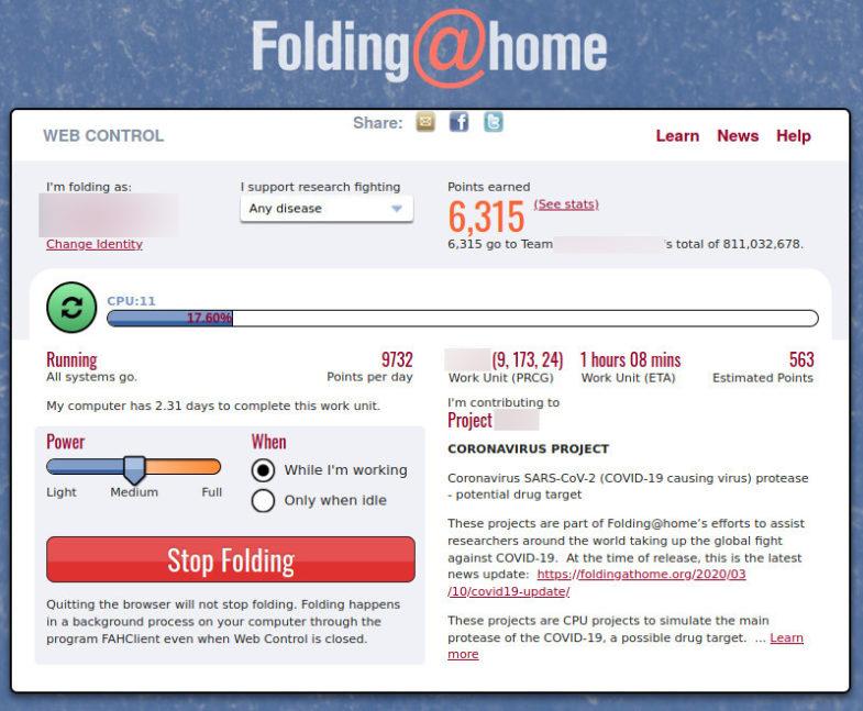 folding at home dashboard
